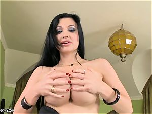 luxurious breasted Aletta Ocean exposes her fat fun bags teasing everyone's attention