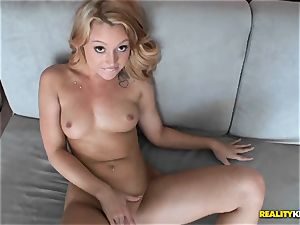 ultra-cute blondie Lucy Tyler shoots a load stiff